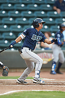 Kyle Kasser (28) of the Wilmington Blue Rocks follows through on his swing against the Winston-Salem Warthogs at BB&T Ballpark on July 17, 2019 in Winston-Salem, North Carolina. The Blue Rocks defeated the Warthogs 4-1. (Brian Westerholt/Four Seam Images)