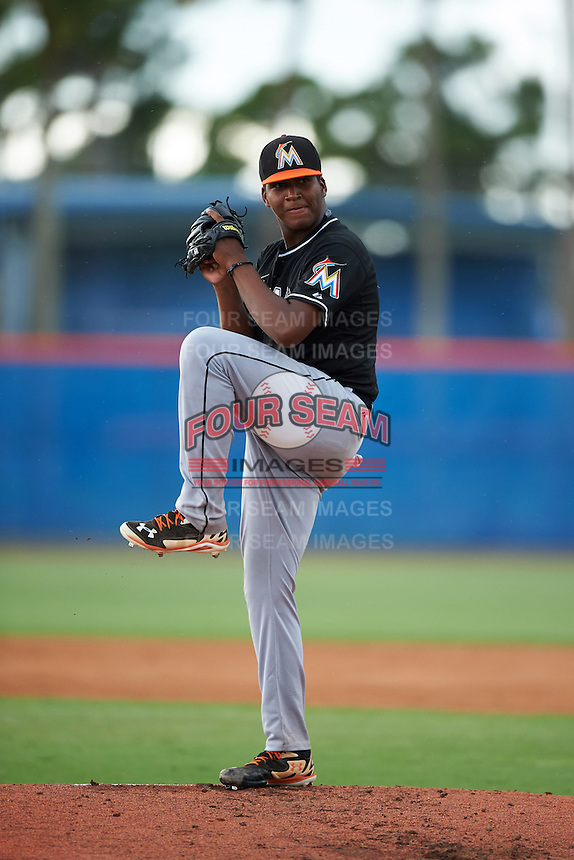 GCL Marlins pitcher Alberto Guerrero (39) delivers a warmup pitch during the second game of a doubleheader against the GCL Mets on July 24, 2015 at the St. Lucie Sports Complex in St. Lucie, Florida.  The game was suspended in the first inning due to rain.  (Mike Janes/Four Seam Images)
