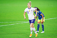 ORLANDO, FL - JANUARY 18: Kristie Mewis #22 of the USWNT dribbles the ball during a game between Colombia and USWNT at Exploria Stadium on January 18, 2021 in Orlando, Florida.