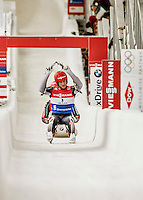 4 December 2015: Robin Geueke and David Gamm, sliding for Germany, cross the finish line after their second run, finishing 4th for the day with a combined time of 1:28.349 in the Doubles Competition of the Viessmann Luge World Cup at the Olympic Sports Track in Lake Placid, New York, USA. Mandatory Credit: Ed Wolfstein Photo *** RAW (NEF) Image File Available ***