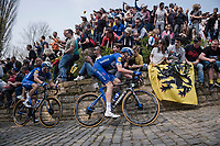 Kasper ASGREEN (DEN/Deceuninck-Quick Step) piloting Zdenek Stybar (CZE/Deceuninck-Quick Step) up the infamous Kapelmuur /Muur van Geraardsbergen<br /> <br /> 103rd Ronde van Vlaanderen 2019<br /> One day race from Antwerp to Oudenaarde (BEL/270km)<br /> <br /> ©kramon