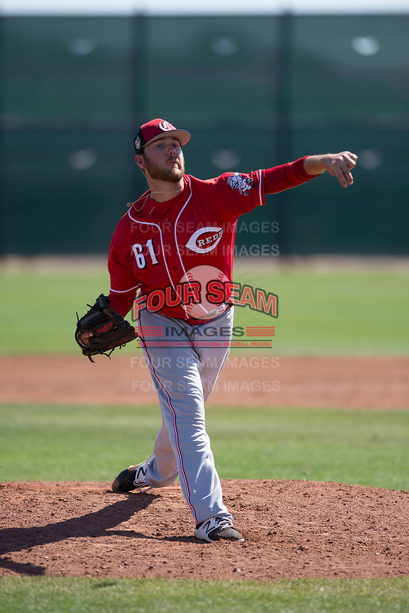 Cincinnati Reds relief pitcher Joel Bender (61) during a Minor League Spring Training game against the Chicago White Sox at the Cincinnati Reds Training Complex on March 28, 2018 in Goodyear, Arizona. (Zachary Lucy/Four Seam Images)