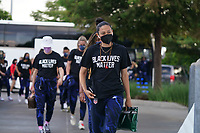 HOUSTON, TX - JUNE 13: USWNT arrive at the stadium before a game between Jamaica and USWNT at BBVA Stadium on June 13, 2021 in Houston, Texas.