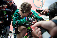 Liege-Bastogne-Liege 2012.98th edition..Thomas Voeckler beat after the finish; fresh media-meat