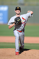Salt River Rafters pitcher Dean Kiekhefer (55), of the St. Louis Cardinals organization, during an Arizona Fall League game against the Surprise Saguaros on October 14, 2013 at Surprise Stadium in Surprise, Arizona.  Salt River defeated Surprise 3-2.  (Mike Janes/Four Seam Images)