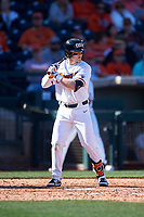 Oregon State Beavers Andy Armstrong (9) at bat during an NCAA game against the New Mexico Lobos at Surprise Stadium on February 14, 2020 in Surprise, Arizona. (Zachary Lucy / Four Seam Images)