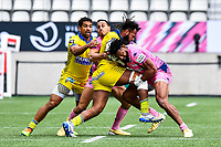 Kylan HAMDAOUI of Stade Francais, Alivereti RAKA of Clermont and Waisea NAYACALEVU of Stade Francais during the French Top 14 rugby match between Stade Francais and Clermont at Stade Jean Bouin on March 27, 2021 in Paris, France. (Photo by Baptiste Fernandez/Icon Sport) - Kylan HAMDAOUI - Waisea NAYACALEVU - Alivereti RAKA - Stade Jean Bouin - Paris (France)