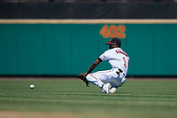 Rochester Red Wings second baseman Nick Gordon (1) fields a ground ball in the shift during an International League game against the Scranton/Wilkes-Barre RailRiders on June 25, 2019 at Frontier Field in Rochester, New York.  Rochester defeated Scranton 10-9.  (Mike Janes/Four Seam Images)