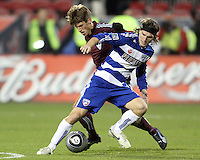 Bryan Loyd#19 of FC Dallas moves the ball away from Wells Thompson#15 of the Colorado Rapids during MLS Cup 2010 at BMO Stadium in Toronto, Ontario on November 21 2010. Colorado won 2-1 in overtime.