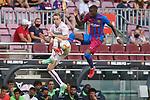 FC Barcelona's Emerson Royal (r) and Getafe CF's Jakub Jankto during La Liga match. August 29, 2021. (ALTERPHOTOS/Acero)