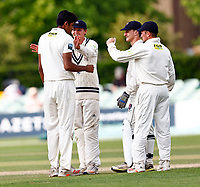 Jas Singh (L) of Kent is congratulated after taking the wicket of Ali Orr during Kent CCC vs Sussex CCC, LV Insurance County Championship Group 3 Cricket at The Spitfire Ground on 13th July 2021