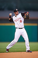 Arkansas Travelers shortstop Eric Stamets (8) throws to first during a game against the Corpus Christi Hooks on May 29, 2015 at Dickey-Stephens Park in Little Rock, Arkansas.  Corpus Christi defeated Arkansas 4-0 in a rain shortened game.  (Mike Janes/Four Seam Images)