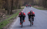 Tim Wellens (BEL/Lotto Soudal) & Thomas De Gendt (BEL/Lotto Soudal) tucking in to speed on down<br /> <br /> Team Lotto-Soudal at the Liège-Bastogne-Liège 2017 recon