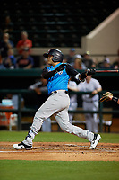 Tampa Tarpons catcher Jason Lopez (10) at bat during a Florida State League game against the Lakeland Flying Tigers on April 5, 2019 at Publix Field at Joker Marchant Stadium in Lakeland, Florida.  Lakeland defeated Tampa 5-3.  (Mike Janes/Four Seam Images)