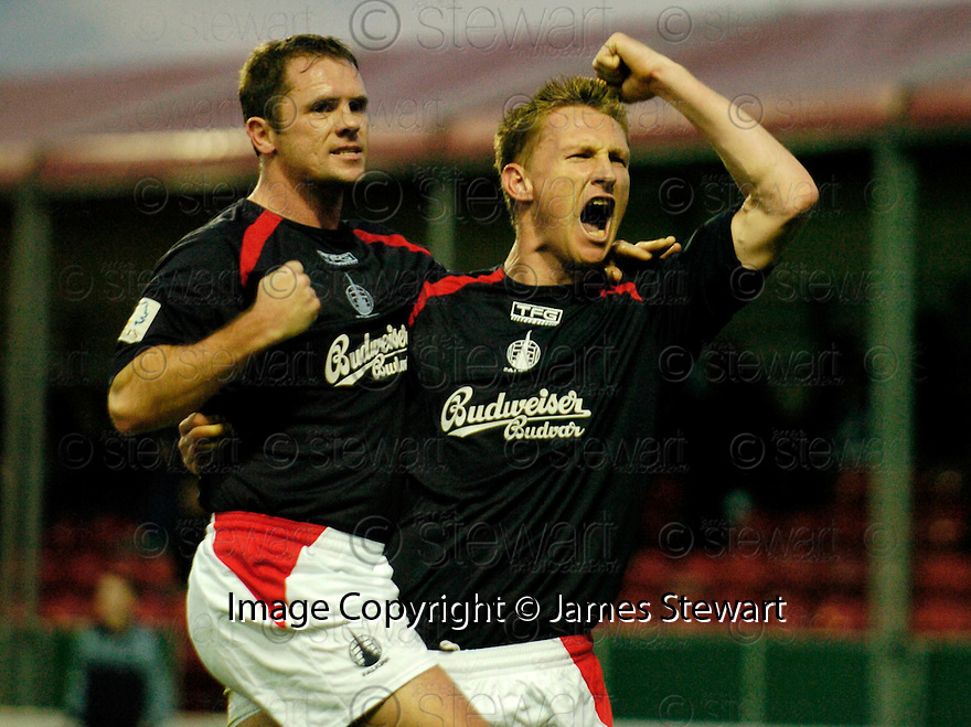 18/12/2004  Copyright Pic : James Stewart.File Name : jspa02_falkirk_v_qots.DANIEL MCBREEN CELEBRATES WITH JOHN O'NEIL AFTER HE HEADS HOME FALKIRK'S THIRD.......Payments to :.James Stewart Photo Agency 19 Carronlea Drive, Falkirk. FK2 8DN      Vat Reg No. 607 6932 25.Office     : +44 (0)1324 570906     .Mobile   : +44 (0)7721 416997.Fax         : +44 (0)1324 570906.E-mail  :  jim@jspa.co.uk.If you require further information then contact Jim Stewart on any of the numbers above.........