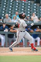 Right fielder Henry Quintero (24) of the Rome Braves bats in a game against the Columbia Fireflies on Tuesday, June 4, 2019, at Segra Park in Columbia, South Carolina. Columbia won, 3-2. (Tom Priddy/Four Seam Images)