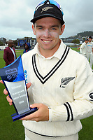 NZ captain Tom Latham with the series trophy during day four of the second International Test Cricket match between the New Zealand Black Caps and West Indies at the Basin Reserve in Wellington, New Zealand on Monday, 14 December 2020. Photo: Dave Lintott / lintottphoto.co.nz
