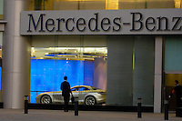 Mercedes Benz dealership attache to a city centre shopping mall, displaying the company's top specialist car, the Mercedes-Benz McLaren SLR, in Beijing, China. In the first 6 months of 2007, Benz achieved sales of 13,500 in domestic market with the 38 percent increase compared with the same period last year..