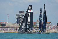 SoftBank Team Japan, JULY 23, 2016 - Sailing: SoftBank Team Japan in action against Artemis Racing and Land Rover BAR during day one of the Louis Vuitton America's Cup World Series racing, Portsmouth, United Kingdom. (Photo by Rob Munro/Stewart Communications)