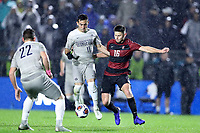 CARY, NC - DECEMBER 13: Jack Beer #11 of Georgetown University and Cam Cilley #16 of Stanford University challenge for the ball during a game between Stanford and Georgetown at Sahlen's Stadium at WakeMed Soccer Park on December 13, 2019 in Cary, North Carolina.
