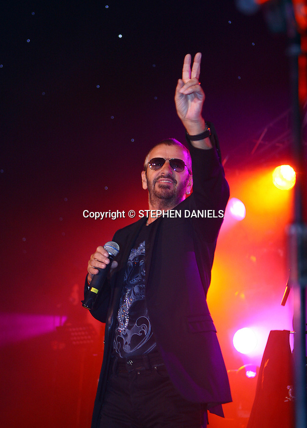 PHOTO BY © STEPHEN DANIELS 17.05.2008 <br /> Cowdray Park Polo Club, Midhurst, West Sussex.<br /> Charity Concert . <br /> Ringo Starr