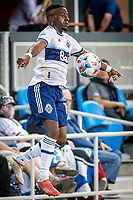 SAN JOSE, CA - AUGUST 13: Cristian Daaome #11 of the Vancouver Whitecaps traps the ball during a game between San Jose Earthquakes and Vancouver Whitecaps at PayPal Park on August 13, 2021 in San Jose, California.