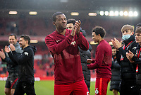 23rd May 2021; Anfield, Liverpool, England; EPL Premier League football, Liverpool versus Crystal Palace:  Liverpool's Georginio Wijnaldum applauds the supporters during a lap of honor after the Premier League match between Liverpool and Crystal Palace at Anfield