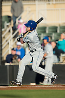 Vince Fernandez (8) of the Asheville Tourists follows through on his swing against the Kannapolis Intimidators at Kannapolis Intimidators Stadium on May 6, 2017 in Kannapolis, North Carolina.  The Intimidators walked-off the Tourists 7-6.  (Brian Westerholt/Four Seam Images)