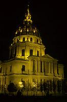 Les Invalides lit up at night, Paris, France.