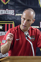 MetroStars' coach Bob Bradley speaks at the post game press conference after his 100 MLS victory, breaking the teams 10 game winless streak against the Fire. The Chicago Fire were defeated by the NY/NJ MetroStars 2-1 at Giant's Stadium, East Rutherford, NJ, on July 24, 2004.