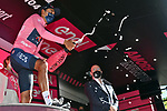Egan Bernal (COL) Ineos Grenadiers retains the leaders Maglia Rosa at the end of Stage 12 the Tappa Bartali of the 2021 Giro d'Italia, running 212km from Siena to Bagno di Romagna, Italy. 20th May 2021.  <br /> Picture: LaPresse/Gian Mattia D'Alberto | Cyclefile<br /> <br /> All photos usage must carry mandatory copyright credit (© Cyclefile | LaPresse/Gian Mattia D'Alberto)