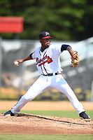 Danville Braves starting pitcher Darius Vines (23) in action against the Bluefield Blue Jays at American Legion Post 325 Field on July 28, 2019 in Danville, Virginia. The Blue Jays defeated the Braves 9-7. (Tracy Proffitt/Four Seam Images)