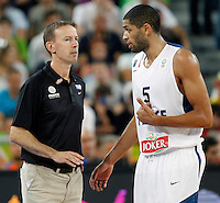 "France`s national basketball team head coach Vincent Collet and Nicolas Batum during European basketball championship ""Eurobasket 2013""  final game between France and Lithuania in Stozice Arena in Ljubljana, Slovenia, on September 22. 2013. (credit: Pedja Milosavljevic  / thepedja@gmail.com / +381641260959)"
