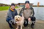 Enjoying a stroll in the Tralee Bay Wetlands on Monday, l to r: John Conneely with Teddy the dog and Donie O'Sullivan.