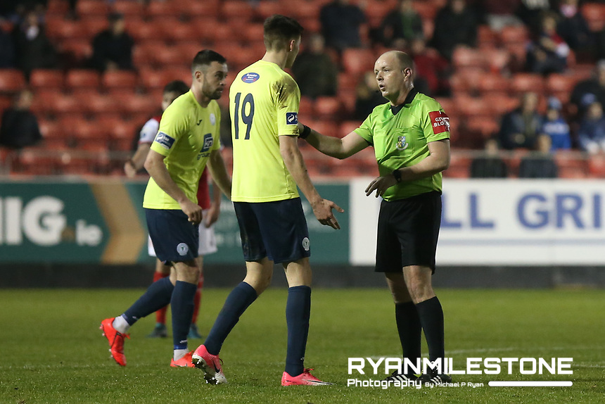 SSE Airtricity League Premier Division,<br /> St Patrick's Athletic vs Finn Harps<br /> Monday 25th February 2019,<br /> Richmond Park, Dublin.<br /> Referee Graham Kelly speaks with Sean Boyd of Finn Harps.<br /> Mandatory Credit: Michael P Ryan