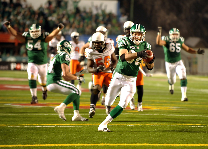 Saskatchewan Roughriders slotback Jason Clermont runs in the winning touchdown to beat the B.C. Lions in the CFL's Western Division semifinal game in Regina Sunday, November 14, 2010. THE CANADIAN PRESS/Mark Taylor.