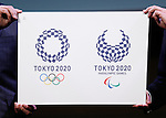 April 25, 2016, Tokyo, Japan - The winning designs for the Tokyo 2020 Olympic Games and Paralympic Games is unveiled during a ceremony on Monday, April 25, 2016. (Photo by AFLO)