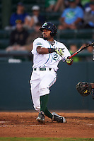 Daytona Tortugas designated hitter Angelo Gumbs (21) breaks his bat during a game against the Fort Myers Miracle on April 17, 2016 at Jackie Robinson Ballpark in Daytona, Florida.  Fort Myers defeated Daytona 9-0.  (Mike Janes/Four Seam Images)