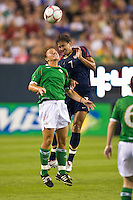United States (USA) midfielder Shannon Boxx (7) goes up for a header. The United States Women's National Team (USA) defeated the Republic of Ireland (IRL) 2-0 during an international friendly at Lincoln Financial Field in Philadelphia, PA, on September 13, 2008.