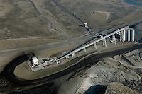 aerial photograph coal conveyor assembly from Westmoreland Coal Company Kemmerer Mine to Naughton Power Plant, Kemmerer, Wyoming