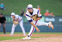 Relief pitcher Matt Campbell (36) of the Clemson Tigers in a game against the Elon College Phoenix on March 21, 2012, at Fluor Field at the West End in Greenville, South Carolina. Clemson won 4-2, giving head coach Jack Leggett his 1,200th win. (Tom Priddy/Four Seam Images)