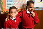 Parochial School Bronx New York  Kindergarten portrait of boy and girl horizontal