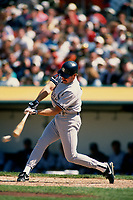 OAKLAND, CA:  Wade Boggs of the New York Yankees bats during a game against the Oakland Athletics at the Oakland Coliseum in Oakland, California on April 28, 1994. (Photo by Brad Mangin)