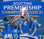 15.05.2021 Rangers v Aberdeen: Borna Barisic with the SPFL Premiership league trophy