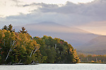 An autumn sunset on Mount Madison and the Androscoggin River in the White Mountains, Shelburne, NH