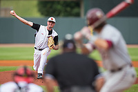 Louisville Cardinals starting pitcher Kade McClure (19) delivers a pitch to the plate against the Florida State Seminoles in Game Eleven of the 2017 ACC Baseball Championship at Louisville Slugger Field on May 26, 2017 in Louisville, Kentucky.  The Seminoles defeated the Cardinals 6-2 to advance to the semi-finals.  (Brian Westerholt/Four Seam Images)