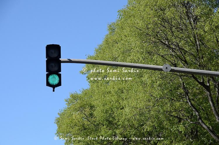 Green traffic light, Marseille, France