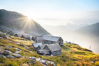 The Via Alta Verzasca is a five day ridge traverse hike above the Valle Verzasca in the Ticino region of Switzerland. At the Capanna Cornavosa on the second night of the tour.