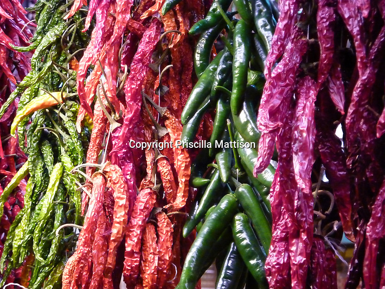 Closeup of hanging hot peppers