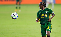 CARSON, CA - OCTOBER 07: Diego Chara #21 of the Portland Timbers moves to the ball during a game between Portland Timbers and Los Angeles Galaxy at Dignity Heath Sports Park on October 07, 2020 in Carson, California.